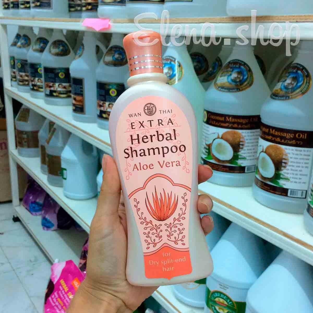 Травяной шампунь с экстрактом алое вера Wan Thai для сухих и поврежденных волос
